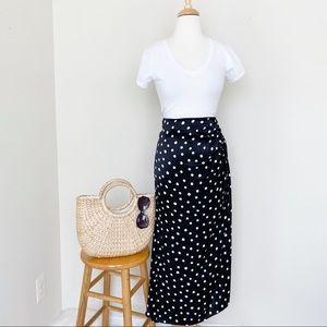 NWT Zara black polka dots midi skirt with slit